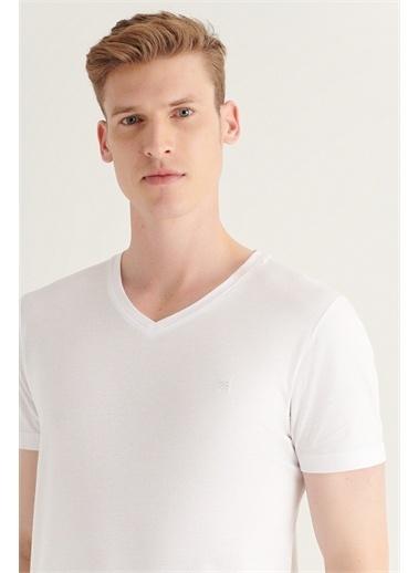 Avva Erkek Ultrasoft V Yaka Düz Modal T-Shirt A11B1173 Beyaz